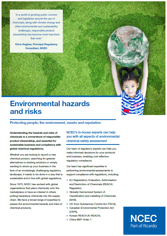 Environmental hazards and risks
