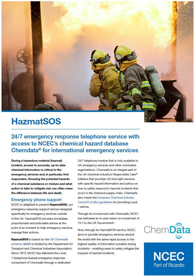 HazmatSOS – for international emergency services