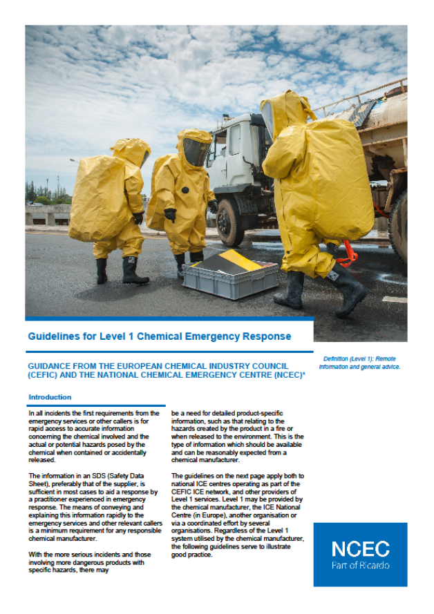 Guidelines for Level 1 Chemical Emergency Response