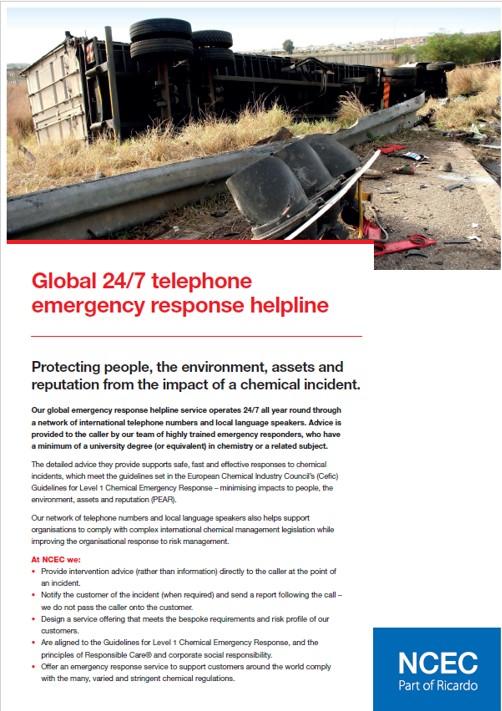 Global 24/7 telephone emergency response helpline