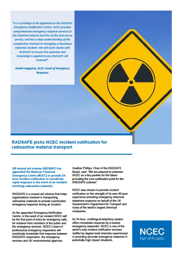 RADSAFE picks NCEC incident notification for radioactive material transport