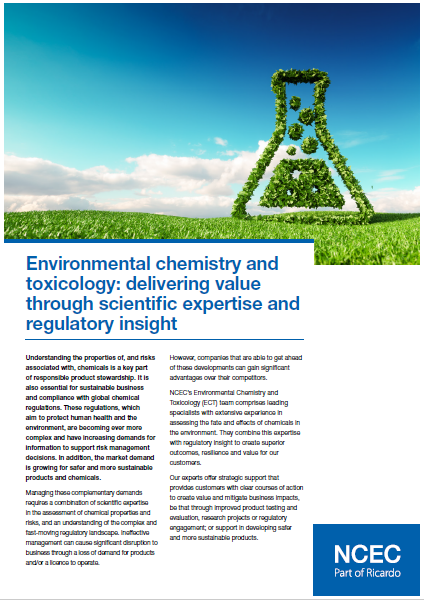 Environmental chemistry and toxicology: delivering value through scientific expertise and regulatory insight