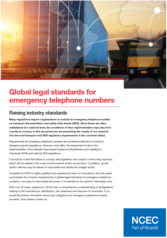 Global legal standards for emergency telephone numbers