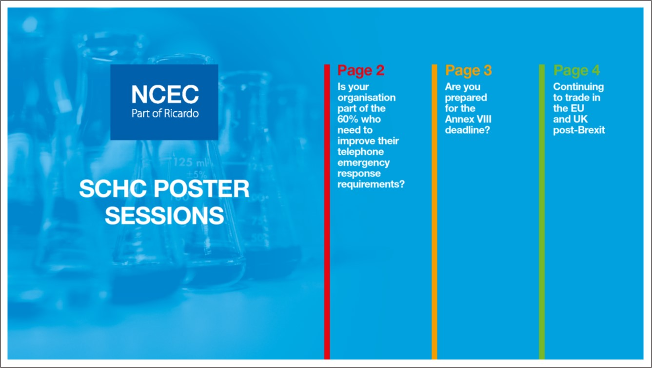 SCHC Poster sessions: Emergency response, poison centres and Brexit
