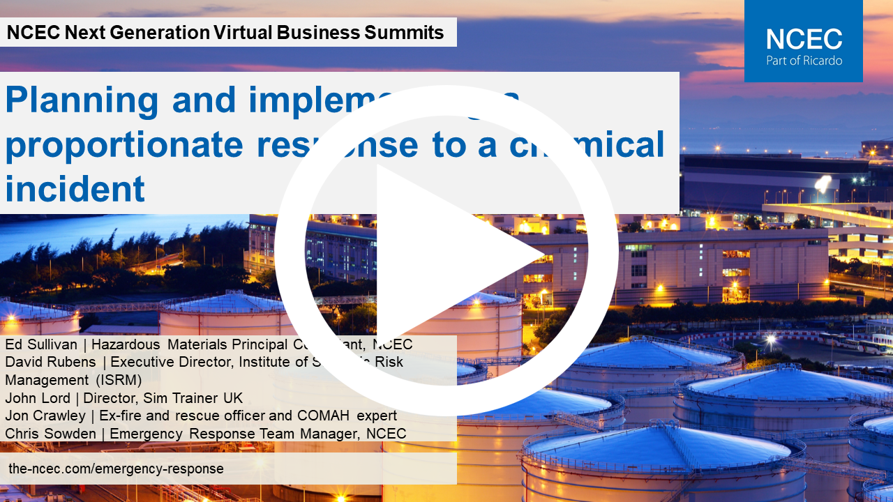 Next Generation Virtual Business Summit: Planning and implementing a proportionate response to a chemical incident